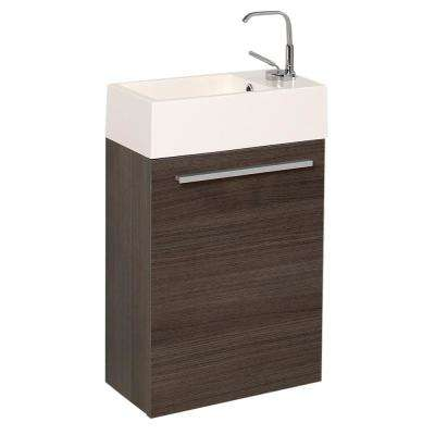 Pulito 16 in. Modern Wall Hung Bath Vanity in Gray Oak with Vanity Top in White with White Basin