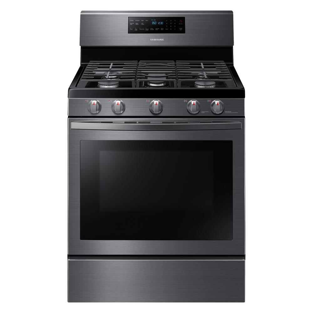 Samsung 30 in. 5.8 cu. ft. Gas Range with Self-Cleaning and Fan Convection Oven in Black Stainless Steel, Fingerprint Resistant Black Stainless was $1199.0 now $798.0 (33.0% off)