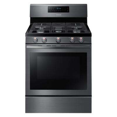 30 in. 5.8 cu. ft. Gas Range with Self-Cleaning and Fan Convection Oven in Black Stainless Steel