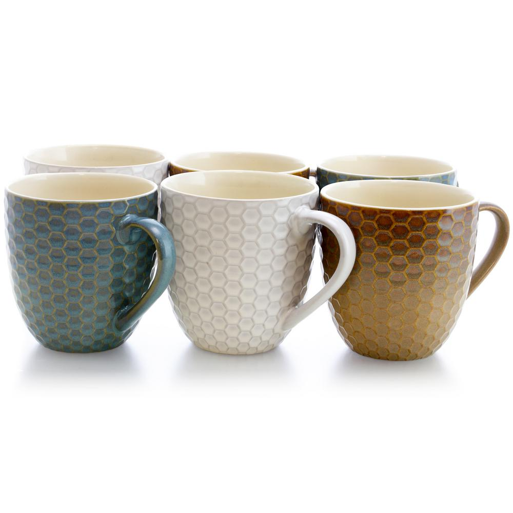 Honey Bee 15 oz. Assorted Color Mugs (Set of 6)