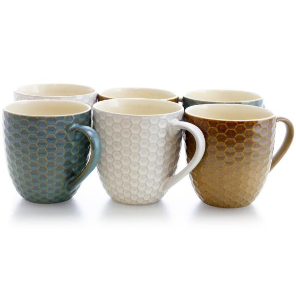 Elama Honey Bee 15 oz. Assorted Color Mugs (Set of 6)