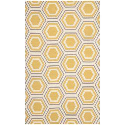 Dhurries Ivory/Yellow 5 ft. x 8 ft. Area Rug