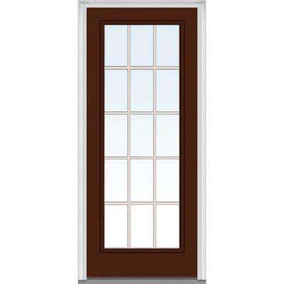 30 in. x 80 in. Grilles Between Glass Right-Hand Inswing Full Lite Clear Painted Steel Prehung Front Door