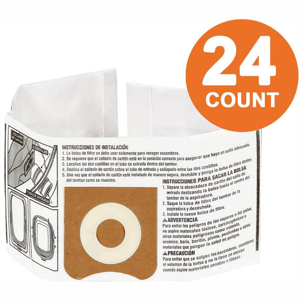 RIDGID High-Efficiency Size C Dust Bags for 3.0 Gal. to 4.5 Gal. RIDGID Wet/Dry Vacs (24-Pack)