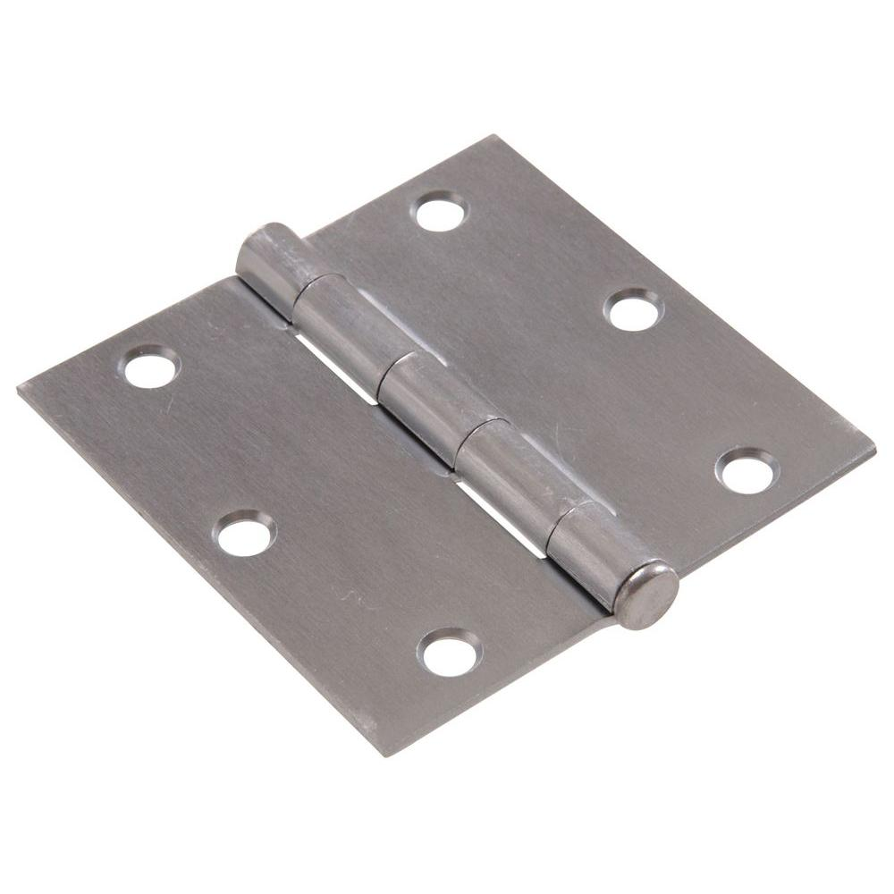 Satin Chrome Residential Door Hinge With Square Corner Removable Pin Full Mortise 9 Pack
