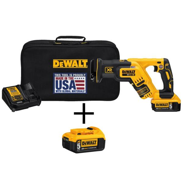 20-Volt MAX XR Lithium Ion Brushless Cordless Compact Reciprocating Saw Kit with Bonus 20-Volt MAX Battery Pack
