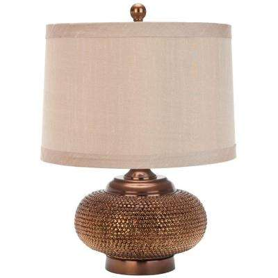 Alexis 19 in. Gold Bead Table Lamp with Taupe Shade