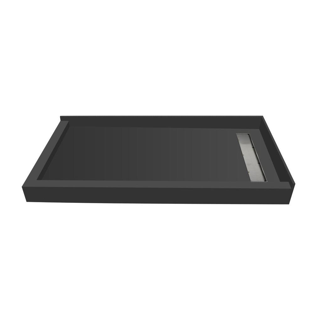 Redi Trench 30 in. x 60 in. Double Threshold Shower Base with Right Drain and Tileable Trench Grate