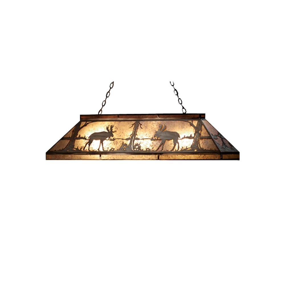 Illumine 9 Light Moose at Lake Oblong Pendant Antique Copper Finish Mica