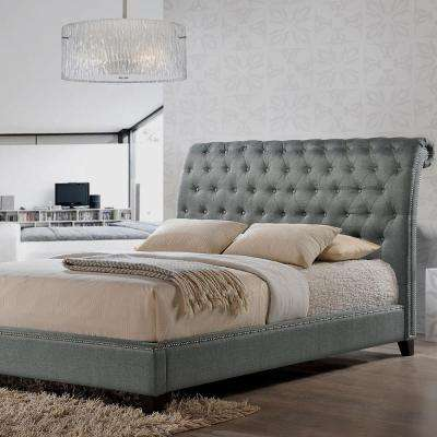 Jazmin Transitional Gray Fabric Upholstered King Size Bed
