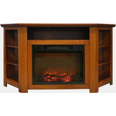 Tyler Park 56 in. Electric Corner Fireplace in Teak with 1500-Watt Fireplace Insert