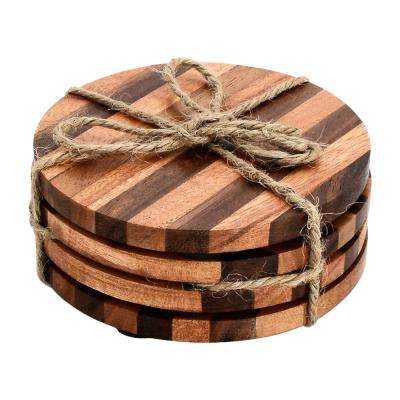 Striped Round 4-Pieces Wood Coaster Set