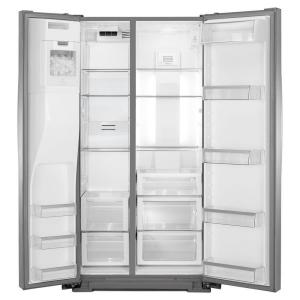whirlpool side by side refrigerator white. +12. whirlpool 36 in. w 19.9 cu. ft. side by refrigerator in white i