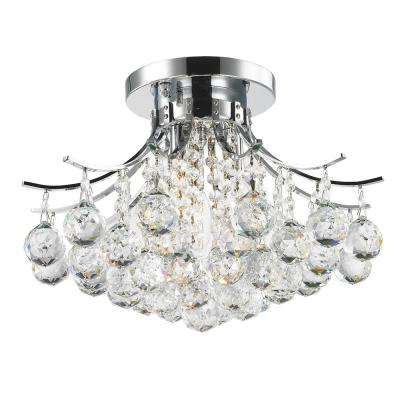 Empire Collection 3-Light Chrome and Crystal Flush Mount