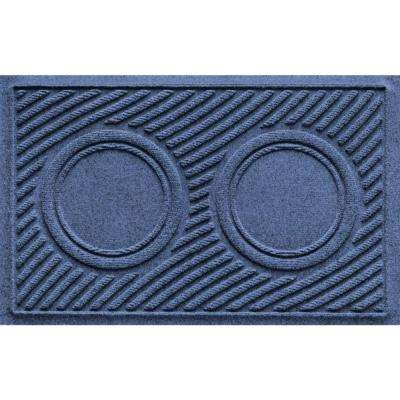 Navy 18 in. x 28 in. Dog Bowl Wave Pet Mat