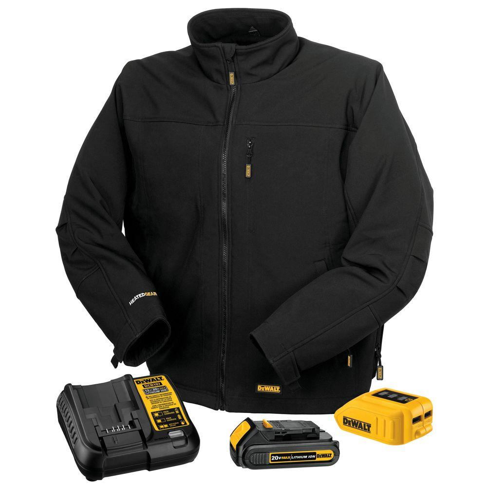 DEWALT Unisex Large Black 20-Volt MAX Heated Work Jacket Kit with 20-Volt Lithium-ion MAX Battery and Charger