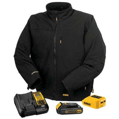 Unisex Large Black 20-Volt MAX Heated Work Jacket Kit with 20-Volt Lithium-ion MAX Battery and Charger