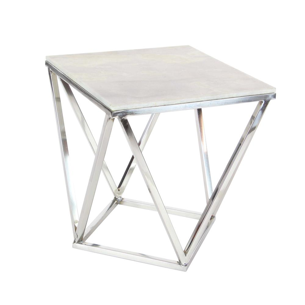 Litton Lane Modern Stainless Steel And Marble Square Accent Table