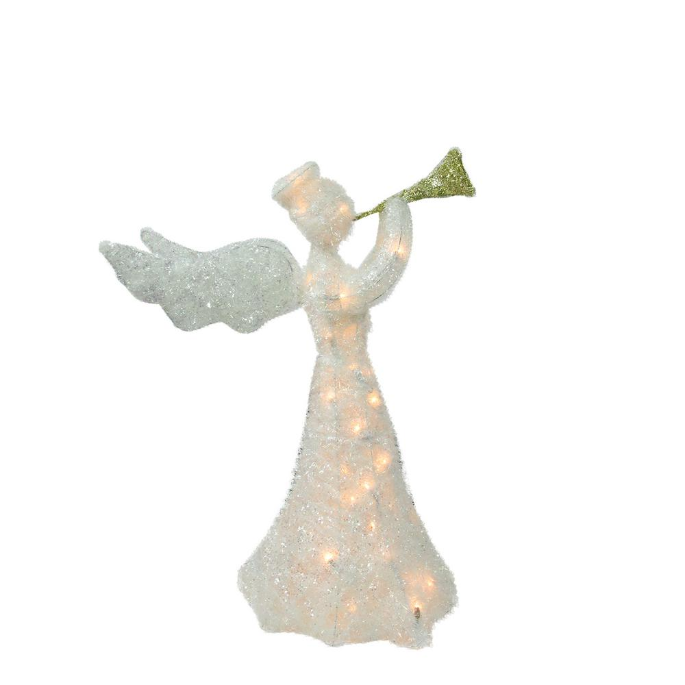 christmas lighted tinsel trumpeting angel outdoor decoration