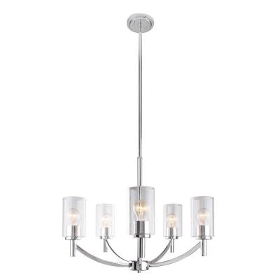 Devora 5-Light Chrome and Clear Glass Chandelier