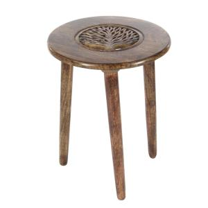 Brown Carved Tree Wood 3-Legged Accent Table by