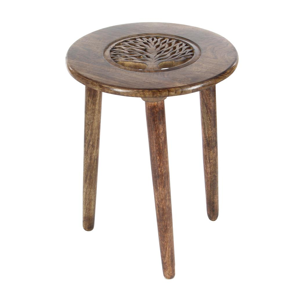 Brown Carved Tree Wood 3-Legged Accent Table