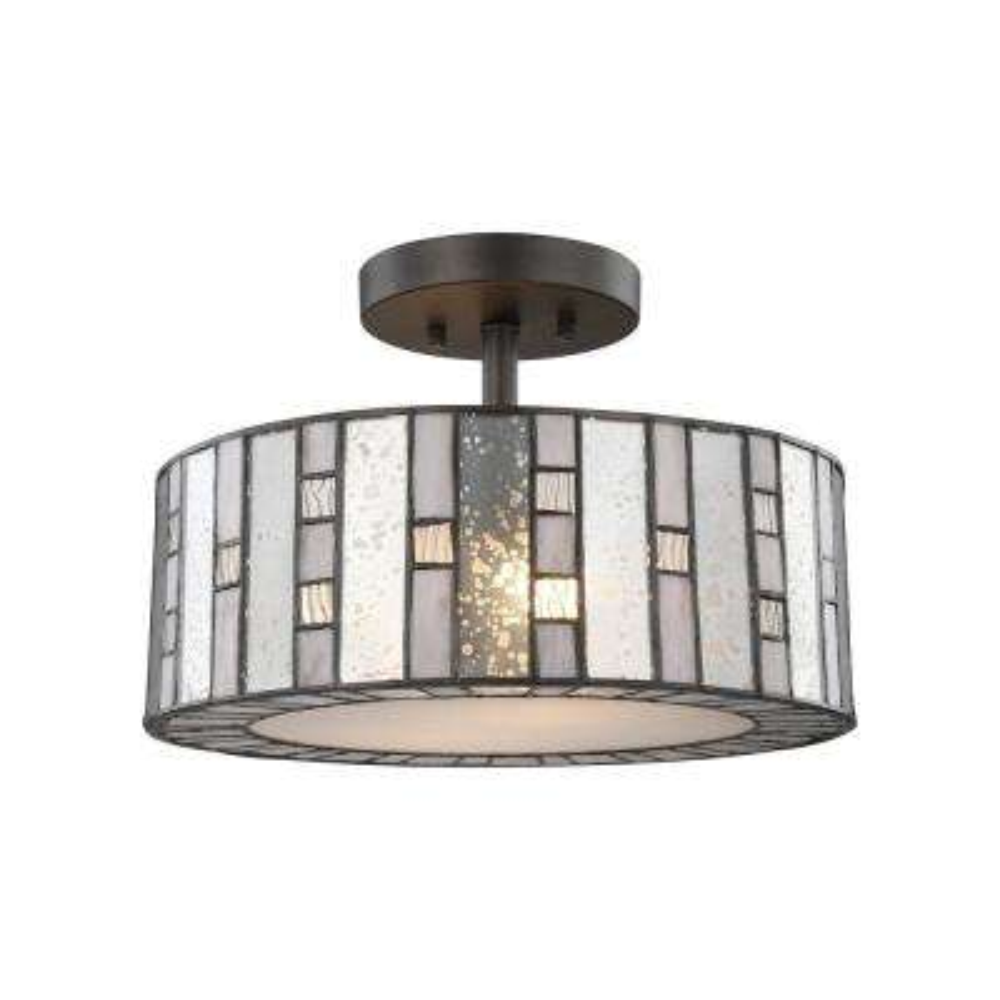 Ethan 2-Light Tiffany Bronze Semi-Flushmount