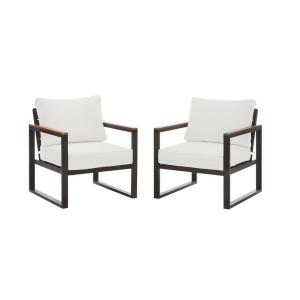 West Park Black Aluminum Outdoor Patio Lounge Chair with CushionGuard White Cushions (2-Pack)