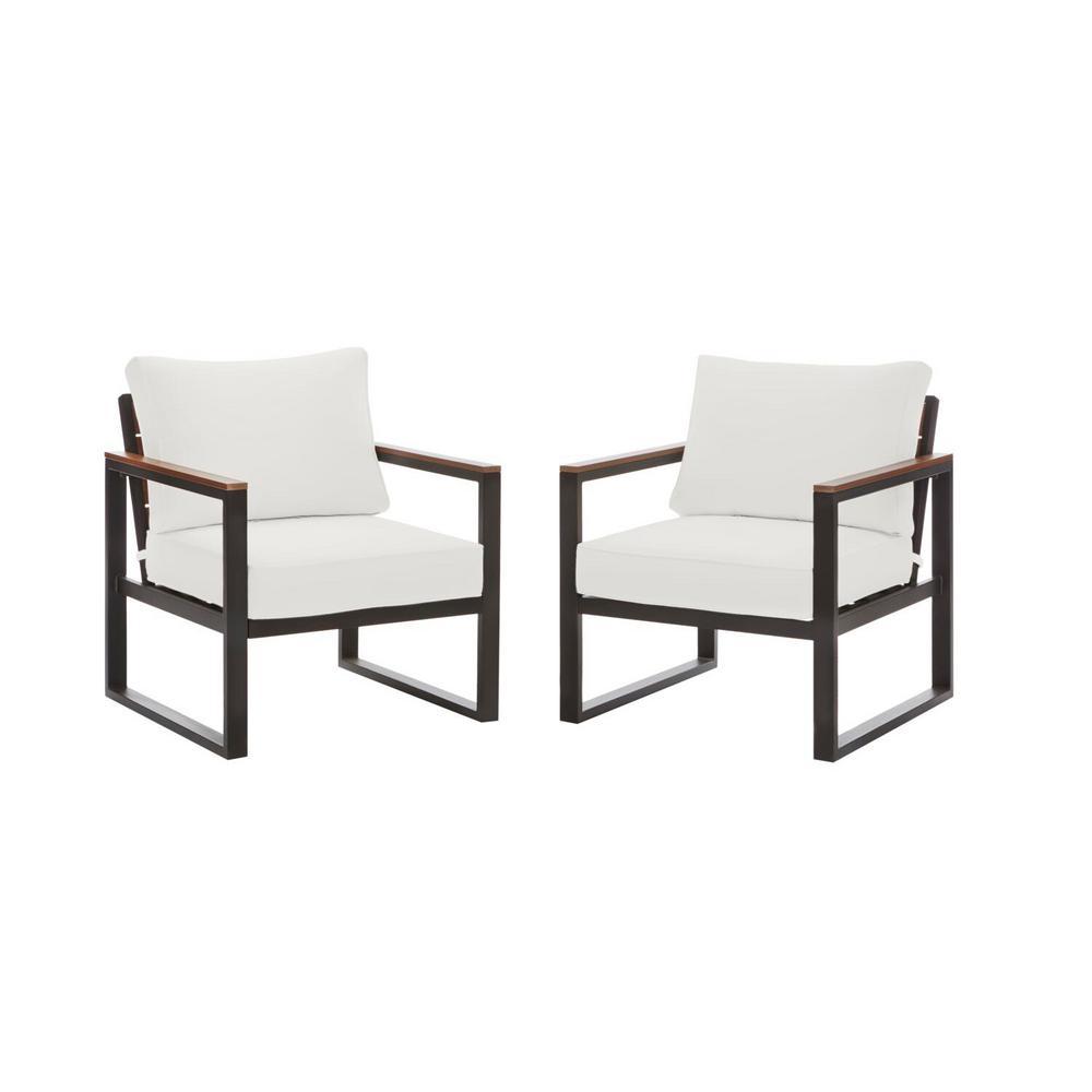 2-Pk Hampton Bay West Park Black Aluminum Outdoor Patio Lounge Chair Deals