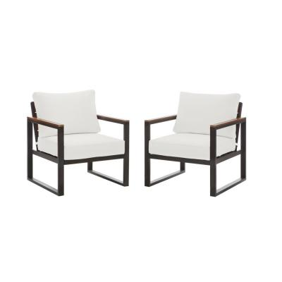 West Park Black Aluminum Outdoor Patio Lounge Chair with Standard White Cushions (2-Pack)