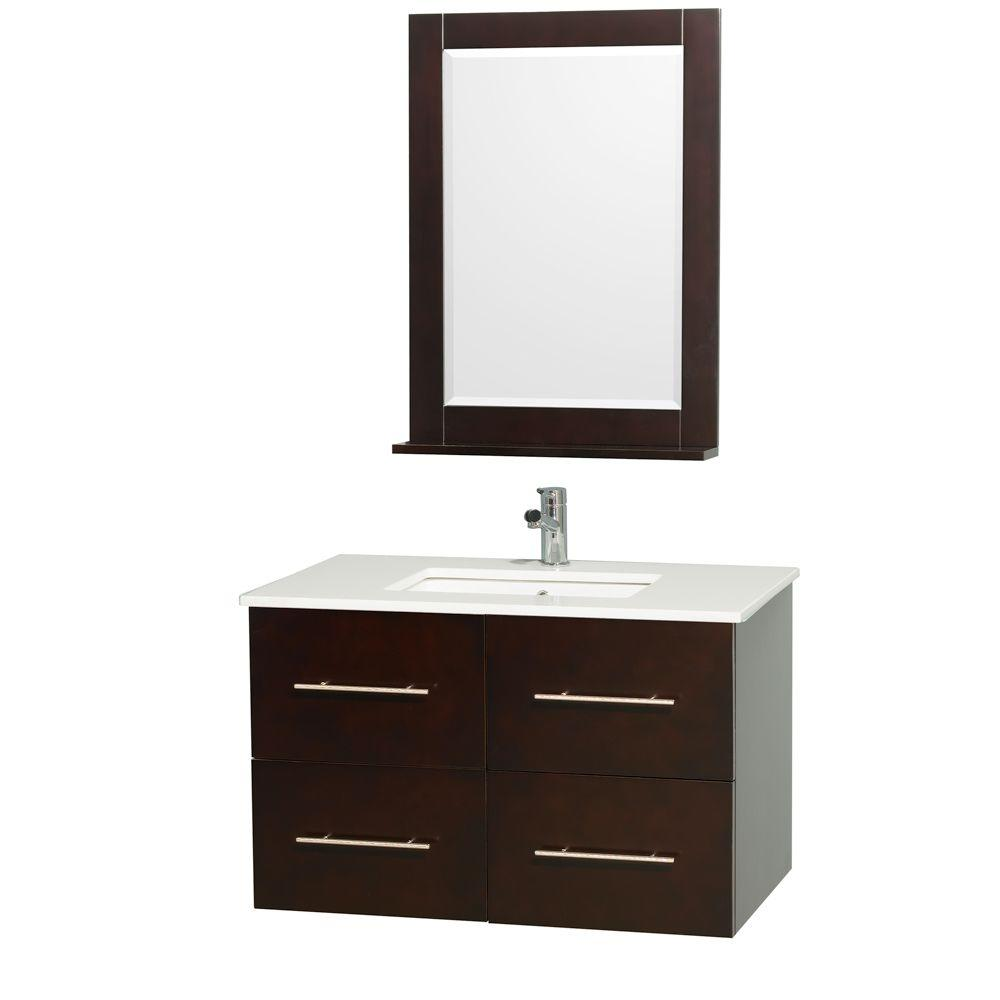 Wyndham Collection Centra 36 in. Vanity in Espresso with Man-Made Stone Vanity Top in White and Square Porcelain Undermounted Sink