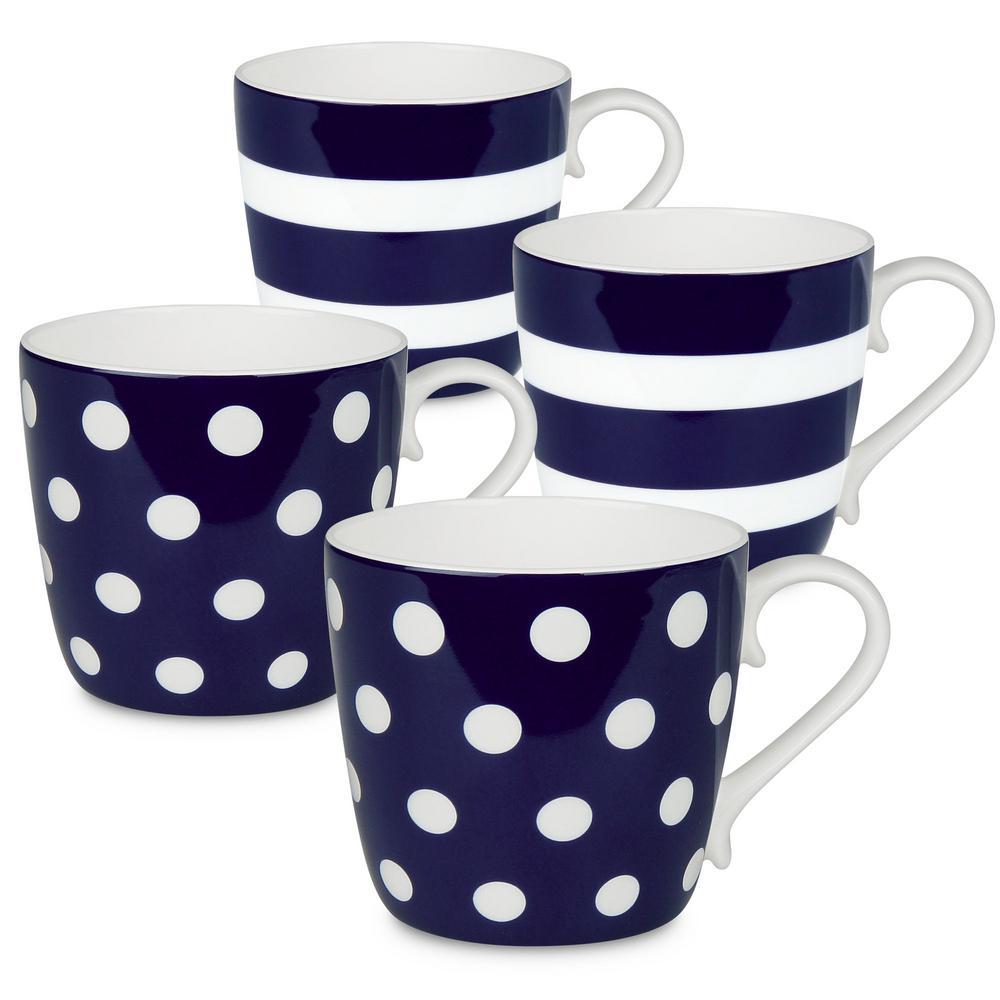 Konitz 4-Piece Assorted Polka Dots and Stripes Dark Blue Bone China Mug Set