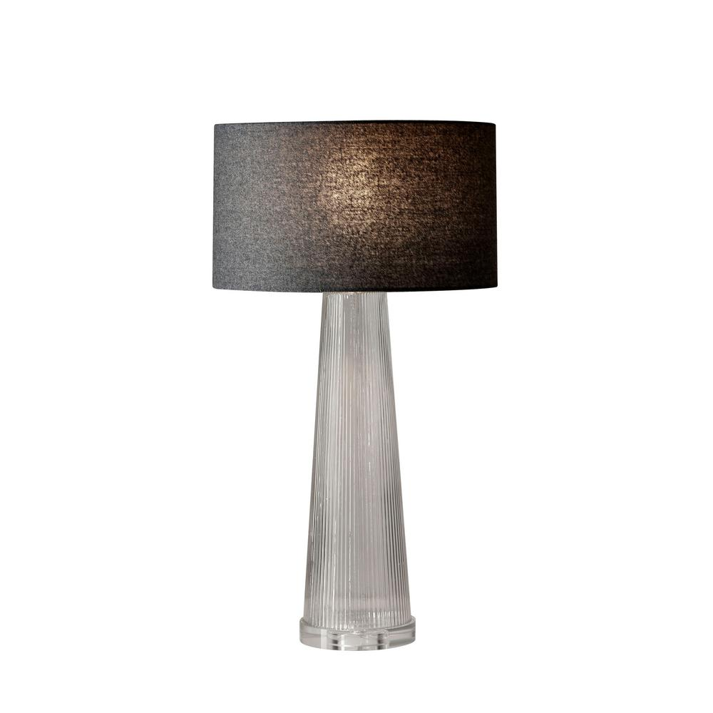 Adesso Beverly 25.5 in. Gray Striped Glass Table Lamp