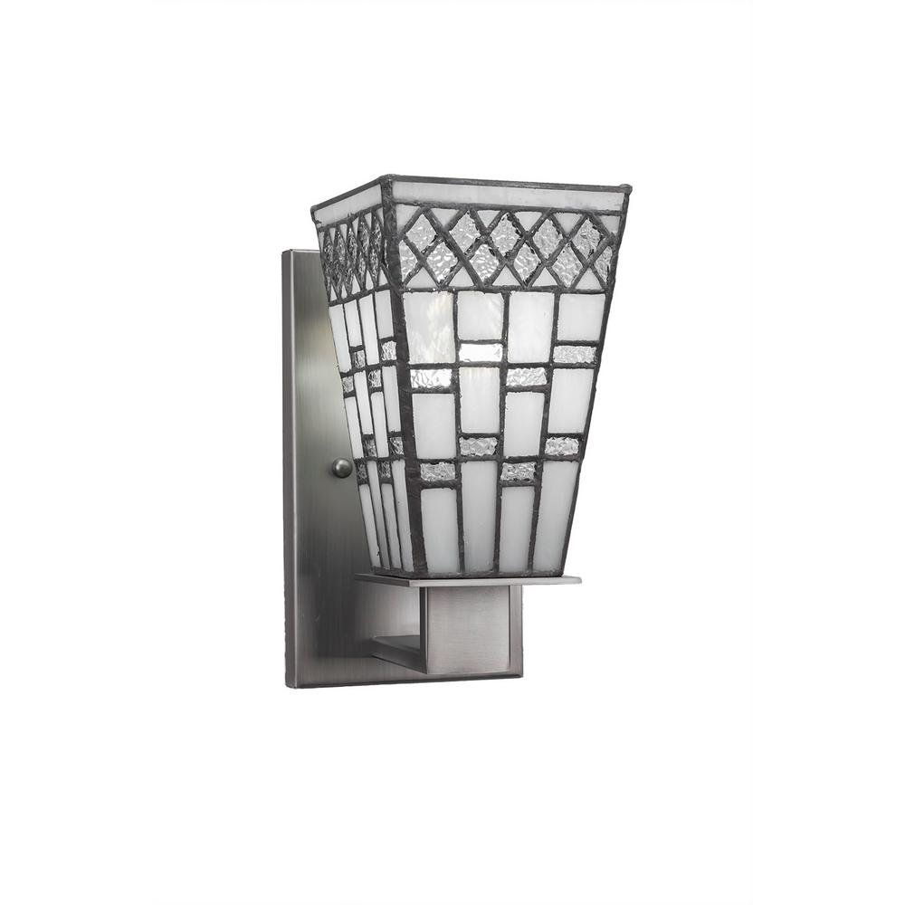 Amora lighting 2 light tiffany style geometric wall sconce 1 light graphite wall sconce amipublicfo Gallery