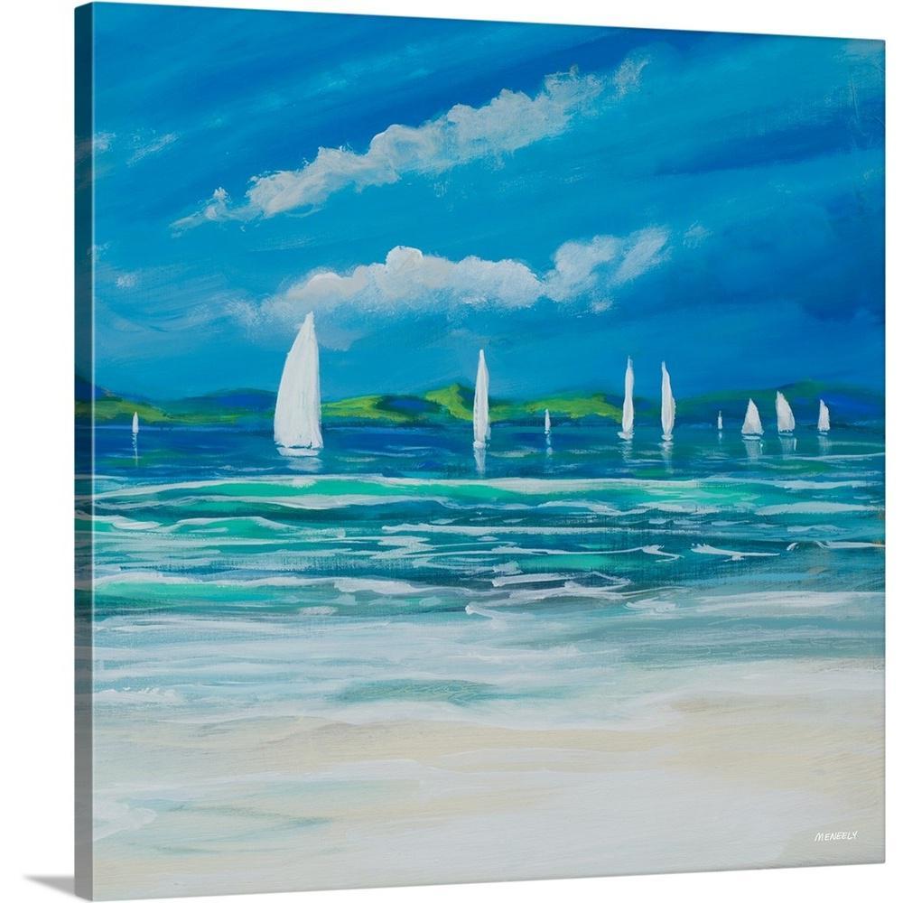 """Sail Away Beach II"" by Dan Meneely Canvas Wall Art"