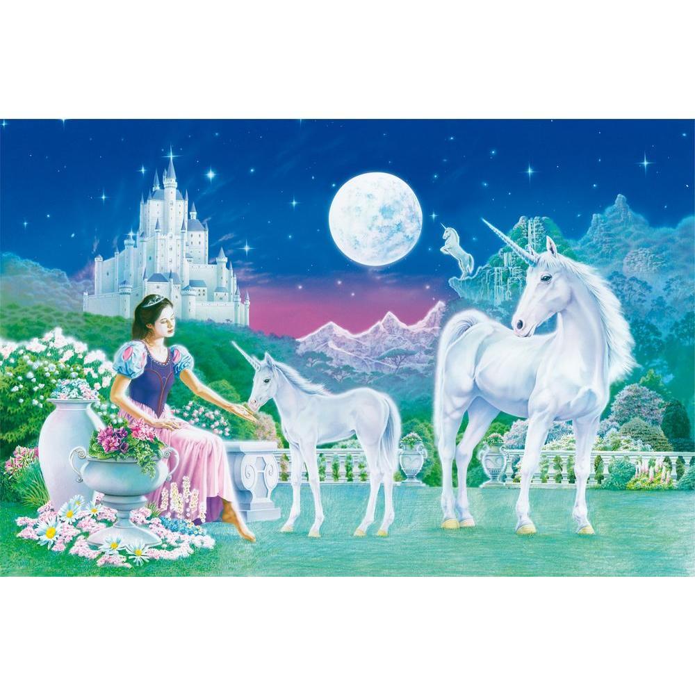 Ideal Decor 45 in. x 0.25 in. Unicorn Princess Wall Mural