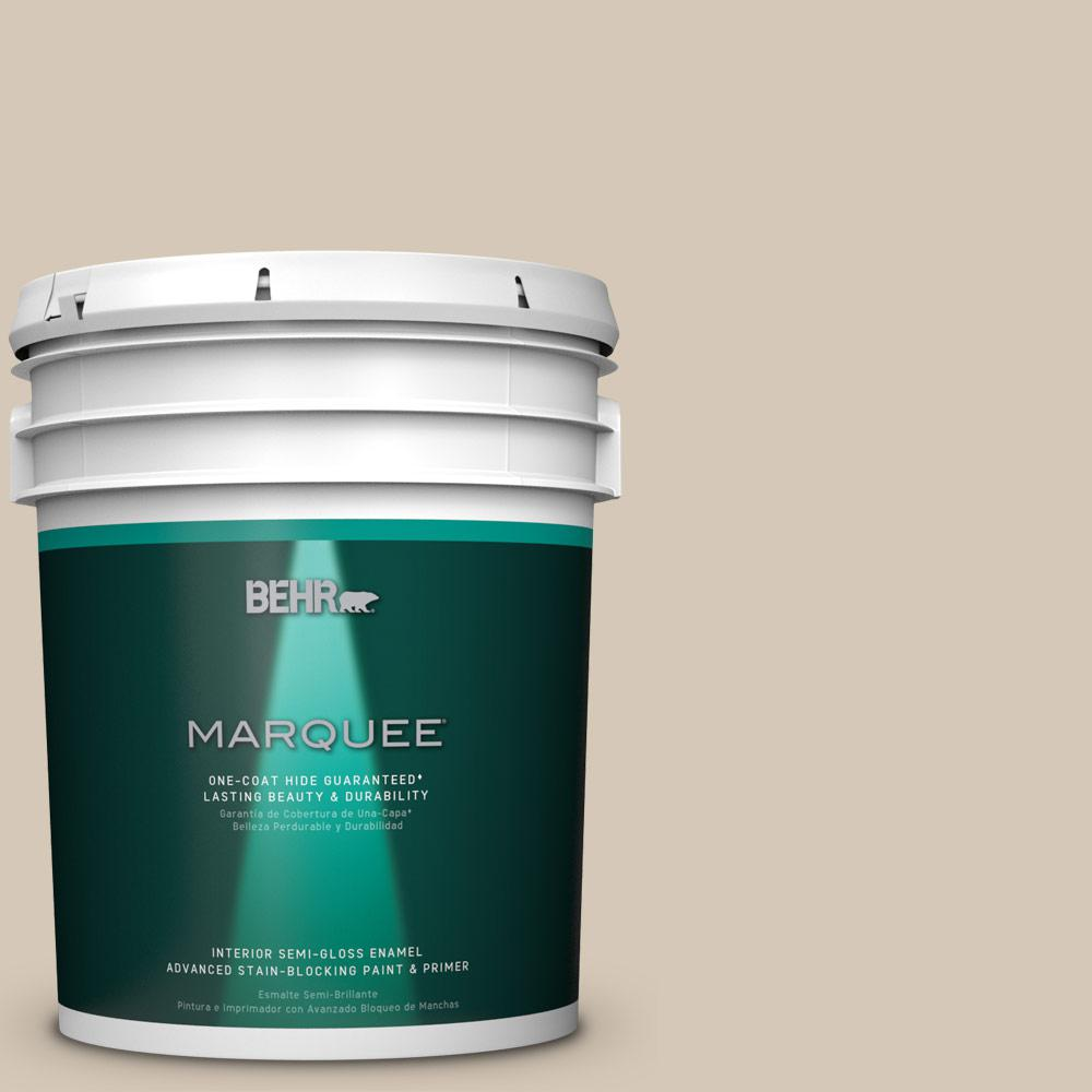 5 gal. #MQ3-10 French Beige One-Coat Hide Semi-Gloss Enamel Interior Paint