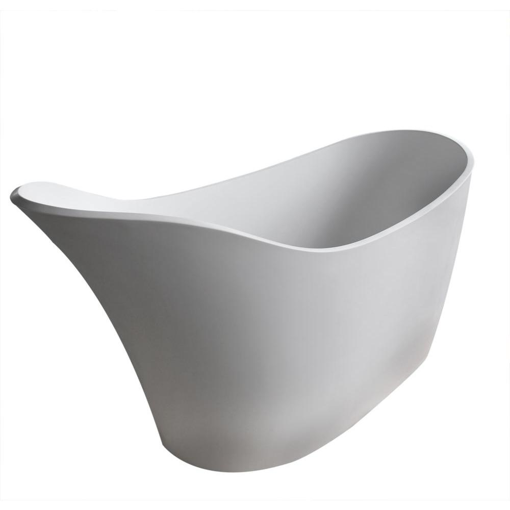 Curve Stone 5.6 ft. Artificial Stone Center Drain Oval Bathtub in