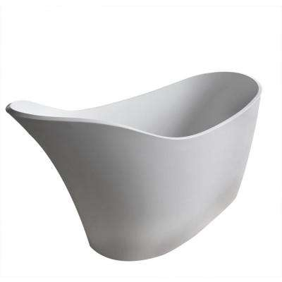 Curve Stone 5.6 ft. Artificial Stone Center Drain Oval Bathtub in White