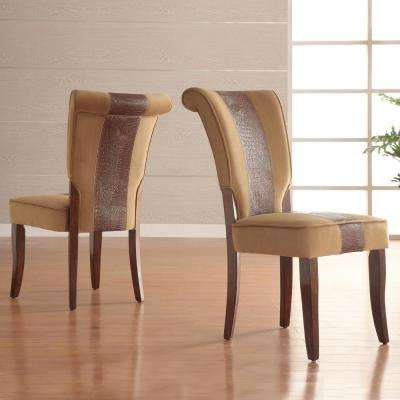 Taupe Velvet And Faux Alligator Side Chair Set Of 2