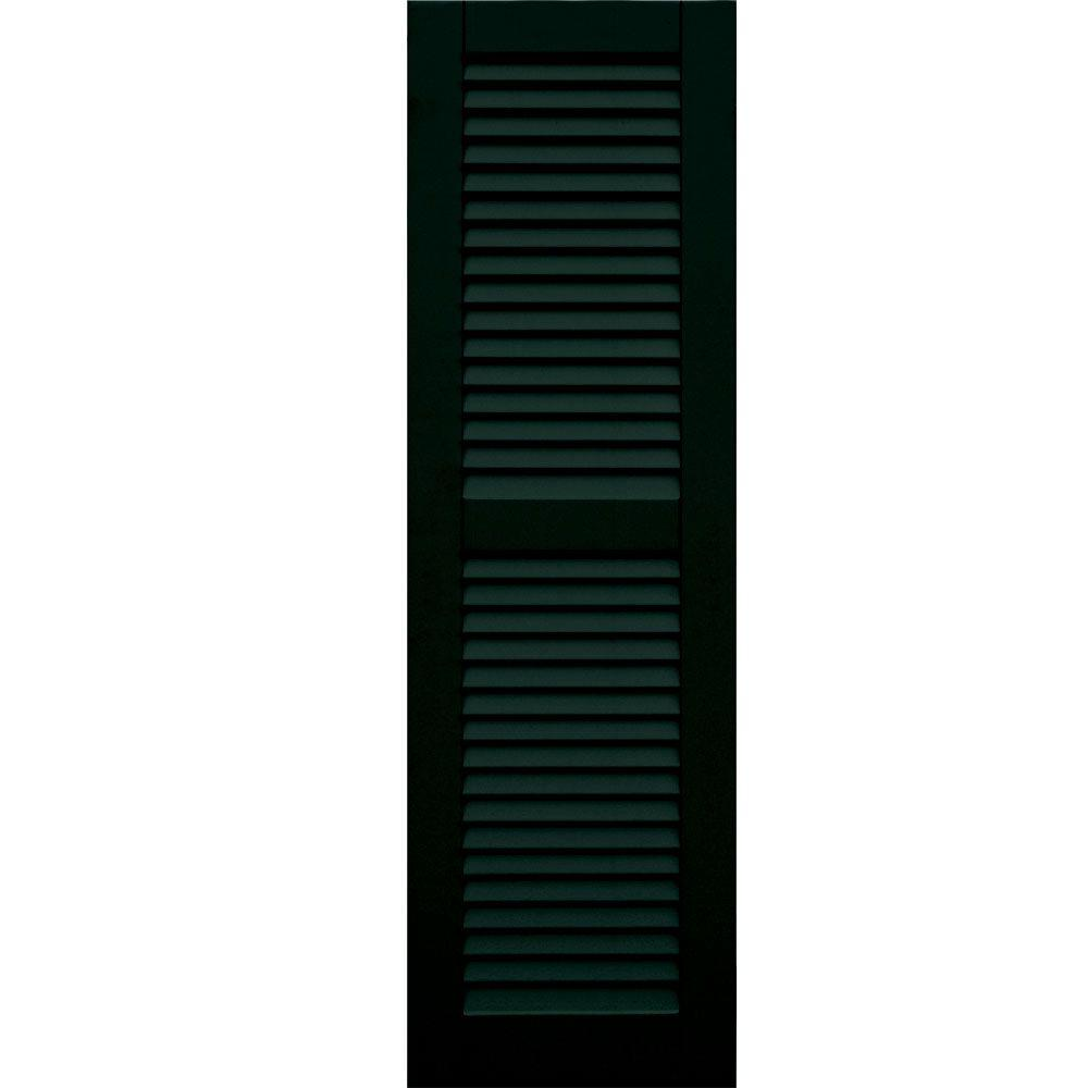 Winworks Wood Composite 15 in. x 50 in. Louvered Shutters Pair #654 Rookwood Shutter Green