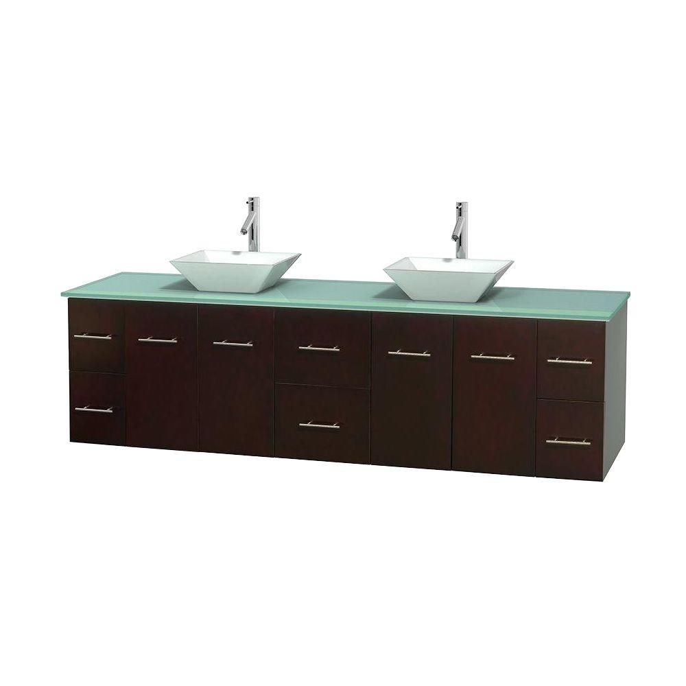 Wyndham Collection Centra 80 in. Double Vanity in Espresso with Glass Vanity Top in Green and Porcelain Sinks