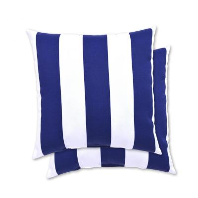 18 in. x 18 in. Navy Cabana Stripe Square Outdoor Throw Pillow (2 Pack)