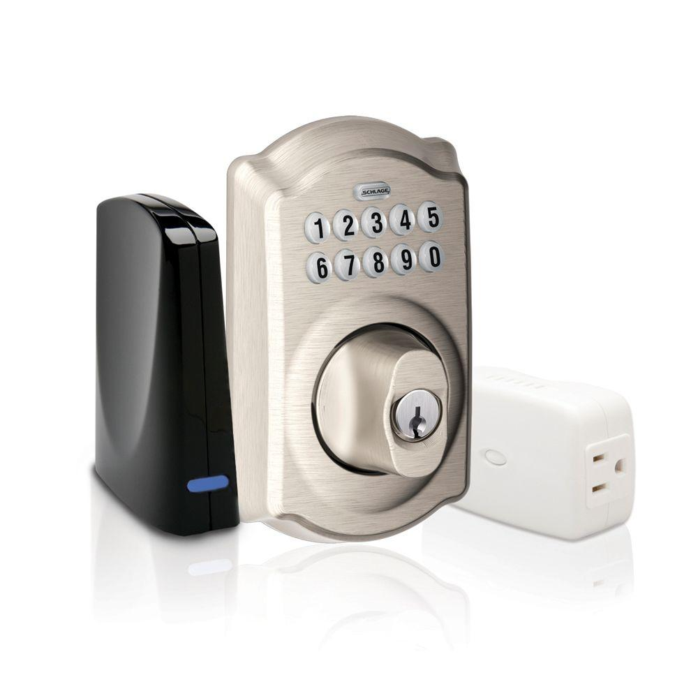 Schlage Satin Nickel Keypad Deadbolt Home Security Kit with Nexia Home Intelligence-DISCONTINUED