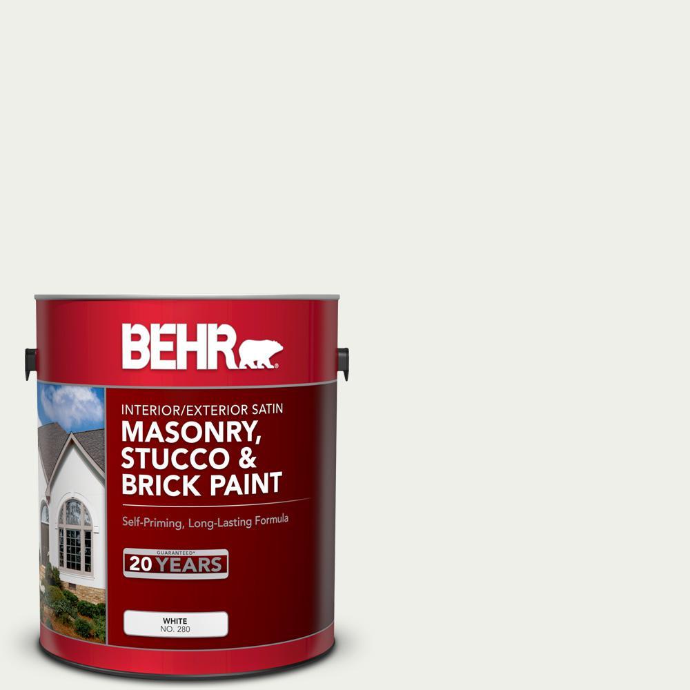 1 gal. #MS-39 Crystal White Satin Interior/Exterior Masonry, Stucco and Brick Paint