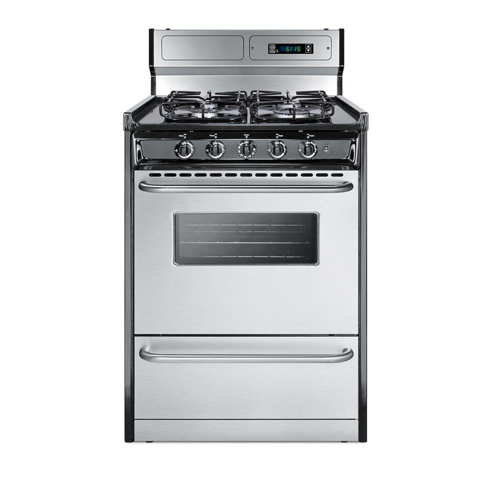 Summit Appliance 24 in. 2.9 cu. ft. Gas Range in Stainless Steel ...