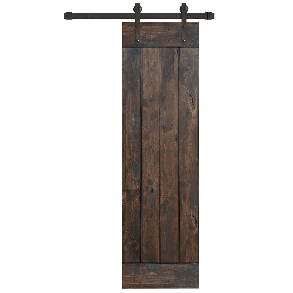 24 in. x 84 in. Rustic Espresso 1 Panel Knotty Alder Barn Door Kit with Oil Rubbed Bronze Sliding Door Hardware Kit