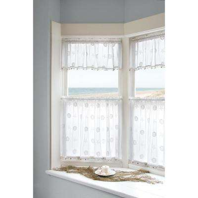 Semi-Opaque Sand Dollar 84 in. L Polyester Valance in White