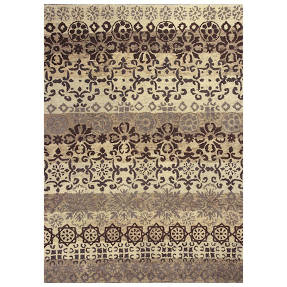 Kas Rugs Perfect Motif Ivory/Grey 5 ft. x 8 ft. Area Rug