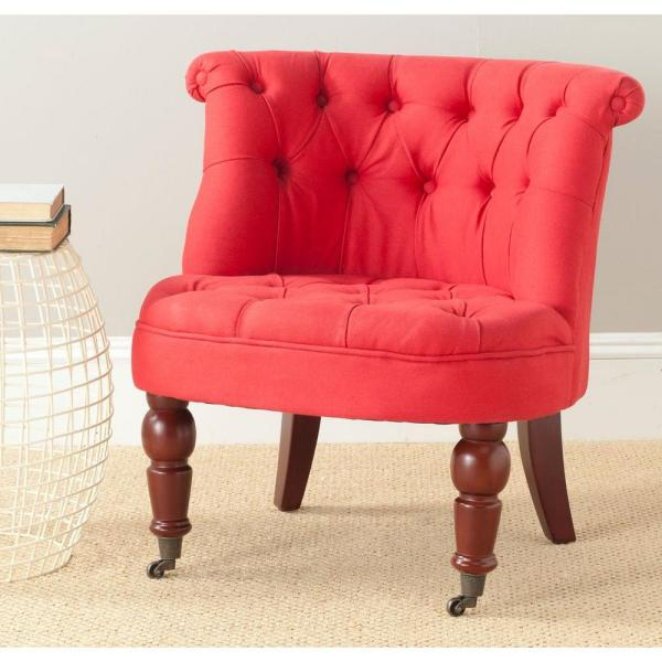 Carlin Cranberry Cotton Tufted Accent Chair